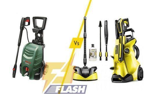 So sánh máy rửa rửa xe Karcher và Bosch